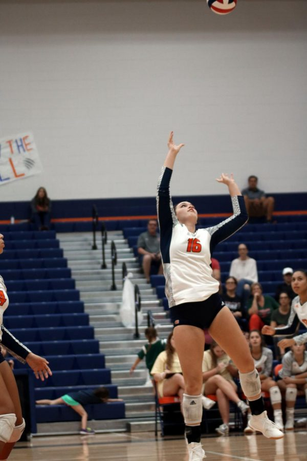 Junior Jessica Frannea sets the ball to be spiked.