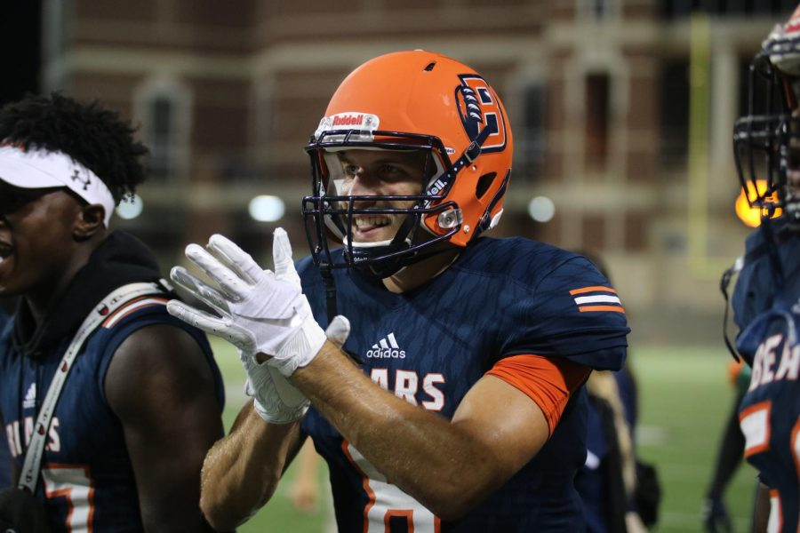 Junior wide receiver Finn Nicholson celebrates after last week's victory over Cy Ranch