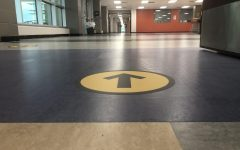 Lots of changes will be found once students return to Bridgeland High School, including these arrows guiding one-way hallways