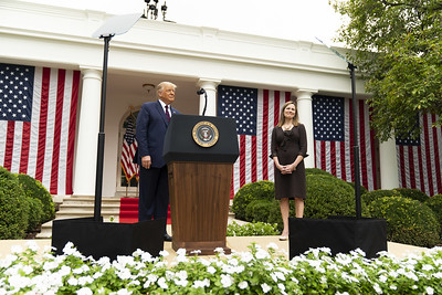 President Donald J. Trump announces Judge Amy Coney Barrett as his nominee for Associate Justice of the Supreme Court of the United States in the Rose Garden of the White House on Saturday, September 26, 2020, who was joined by her husband Jesse Barrett and their children.
